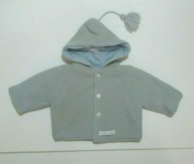 Petit Bateau Baby-Boys Newborn Blue Striped Hooded Jacket