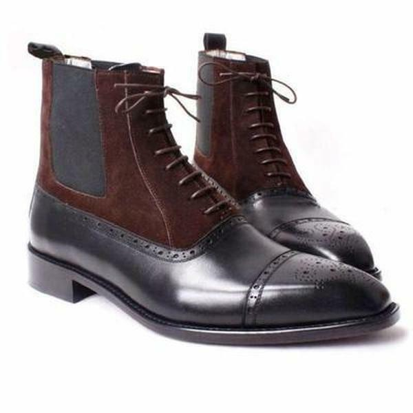 Handmade Men two tone ankle boots, Men Cap toe lace up ankle boots, Men boots