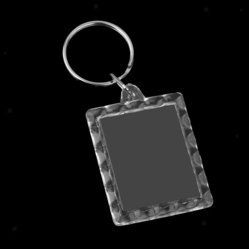 10pcs 28x31mm Oblong Acrylic Blank Clear Keyrings Insert Photo Key Chains
