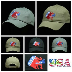 ad52e271032 Image is loading Republican-Dad-Hat-Plain-Baseball-Cap -Unconstructed-Fashion-