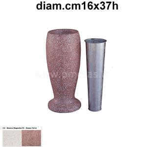 VASI MODERNI CIMITERIALI DIAM.CM16X37H CON VASCHETTA PORTAFIORI IN ZINCO