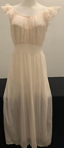 Vintage VANITY FAIR 50s Long Slip GOWN Pink NIGHTGOWN Nylon Tricot Small Med 36