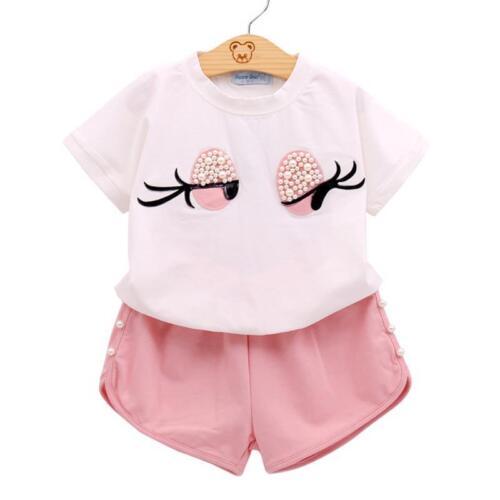 Girls Clothing Set T-Shirt Skirt//Shorts Set Toddler Kids Clothes 3T 4T 5 6 7
