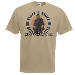 Mens-Khaki-Counter-Terrorist-Faction-Army-T-Shirt-CS-GO-FPS-Gaming-T-Shirt