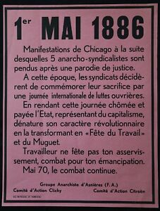 Affiche 1er Mai 1886- Mai 70 Politique Fête Du Travail Syndicalisme Haymarket