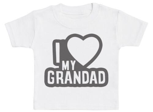 I LOVE MY GRANDAD Noir Contour Bébé T-Shirt