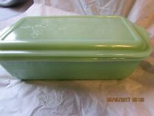 Vintage Philbe  Fire King Jadeite Jadite Loaf pan /Refrigerator Dish with Lid
