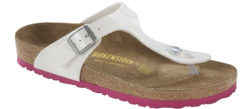 BIRKENSTOCK GIZEH WEISS PATENT LS PINK INFRADITO BAMBINA BIANCO LUCIDO ROSA