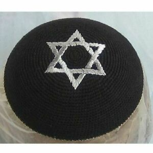 12 Units White Knitted Kippah with Gold Stars of David and Rim