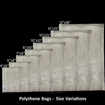"""8/"""" x 10/"""" inch Clear Polythene Plastic Bags Sizes Crafts Food Poly All Qty"""