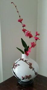 Asian Porcelain Vase Cherry Blossoms with Wood Stand SIGNED