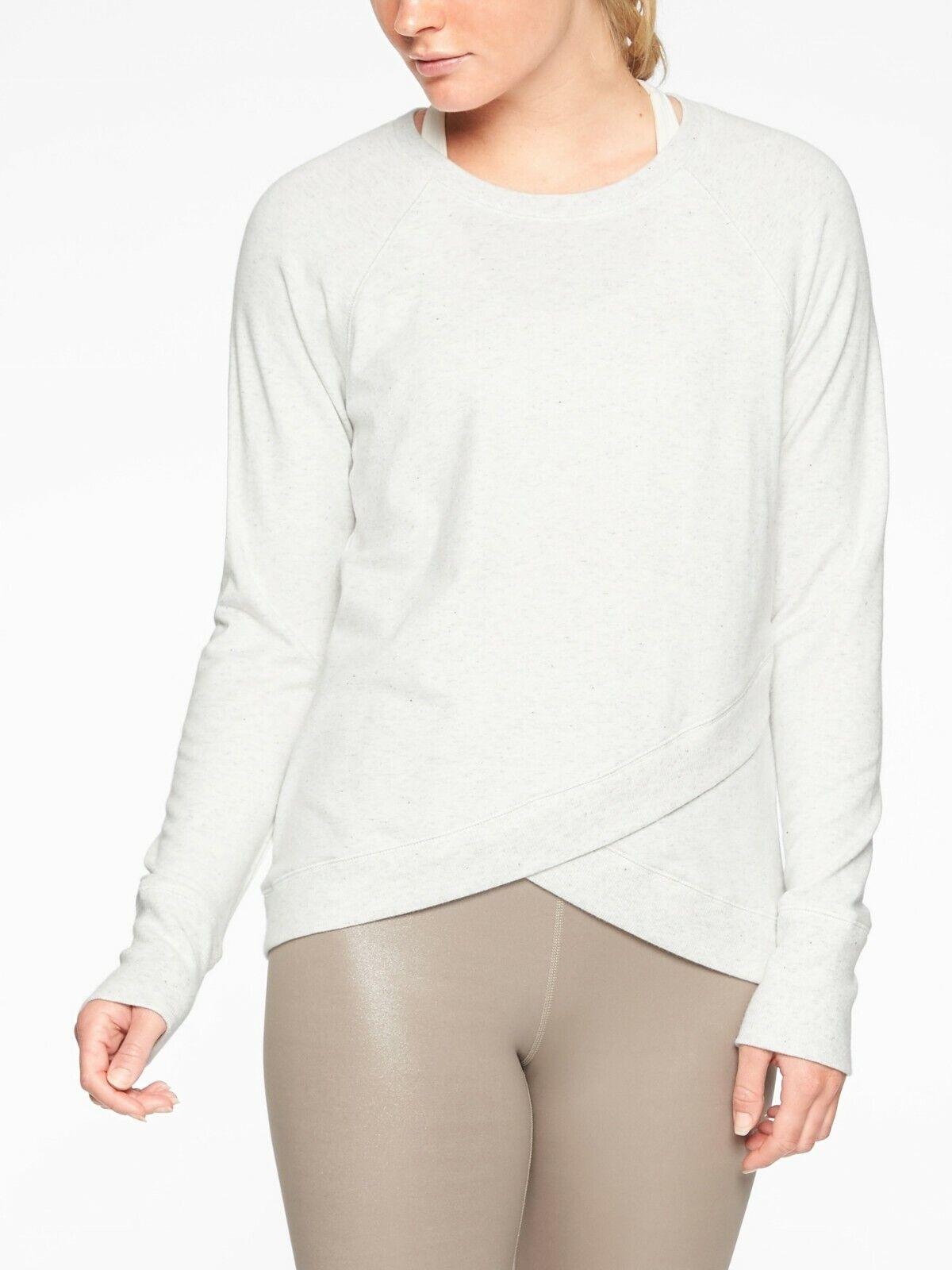 Athleta Criss Cross Sweatshirt, Sea Salt Heather Nep Größe ST S T   N0225