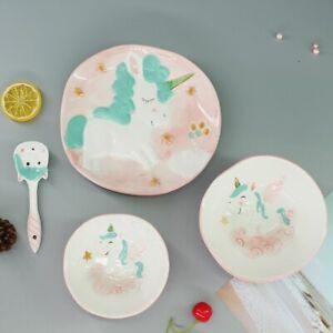 Spoon 1pc Unicorn Children Dinnerware Set Ceramic Dish Plate Rice