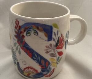"Starla M. Halfmann Anthropologie Letter Initial Monogram ""S"" Mug Cup."