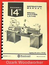 Rockwell 14 Cabinet Metal Lathe Opparts Manual 0596