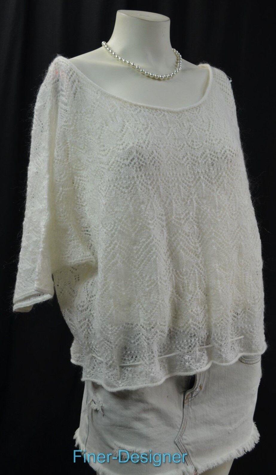 Ralph Lauren Denis tillförsel tröja öppen, stickad mohair mix, överStorlekrad kvinnor L.