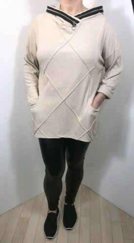 Hoodie Sweatshirt Zips Dipped Hem Stretchy Pockets Oversized Soft Long NEW