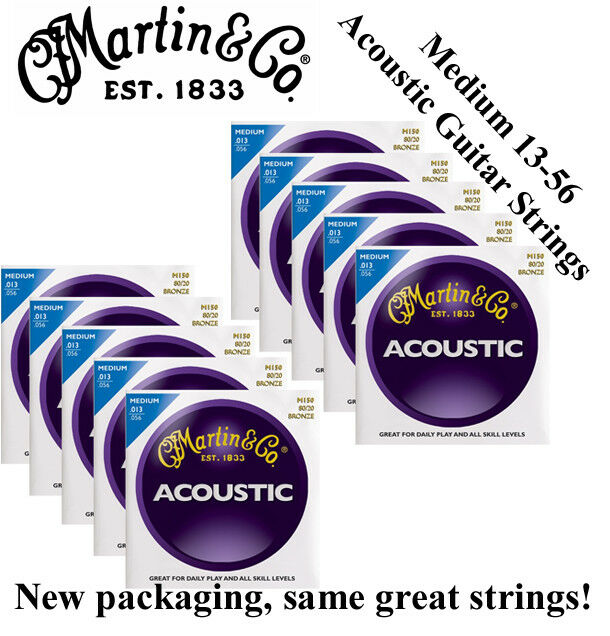10 SETS - MARTIN M150 ACOUSTIC GUITAR STRINGS MEDIUM (13-56) 80 20 BRONZE