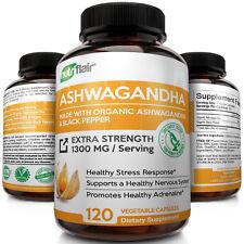 ? Organic Ashwagandha Capsules 1300mg 120 Capsules with Black Pepper Root Powder
