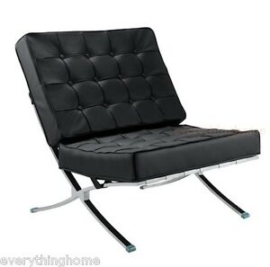 2-Sets-of-Two-Black-Leather-Leather-Match-Barcelona-Style-Chair-Cushions