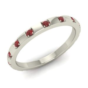Certified-0-24-Ct-Natural-Garnet-Wedding-Band-Ring-in-Solid-925-Sterling-Silver