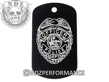 Dog Tag Military ID K9 Customized Laser Engraved BLK Police Badge 1