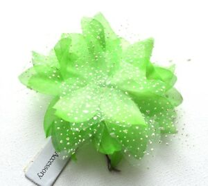 Neon Bright Lime Green Net Flower Feather Fascinator on a Hair clip Slide