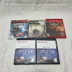 Lot-of-5-Playstation-3-Games-Uncharted-2-Fallout-New-Vegas-Fallout-3-Resistance