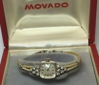 VINTAGE 14K WHITE GOLD LADIES MOVADO DIAMOND WRIST WATCH ROPE BAND SWISS *FLAWS*