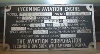 Early Avco Lycoming Aviation Engine Stainless Data Plate 0-235-c