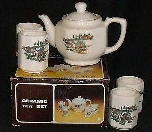 Tea-Set-COWS-Teapot-And-4-Cups-Vtg-Taiwan-Unused-in-Box-Vtg-Tea-Pot-Ceramic