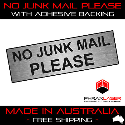 LABEL PLAQUE 80mm X 20mm MAILBOX LETTERBOX NO JUNK MAIL SILVER SIGN