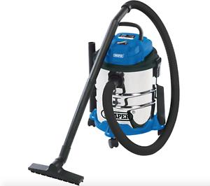 Draper Wet /& Dry 15 LITRI Hoover Aspirapolvere serbatoio in acciaio inox 230 V 1250 W
