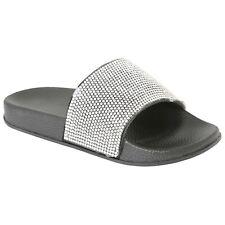 Childrens Flat Stretch Slip On Studded Sandals Slider Mule Kids Girls Shoes Size