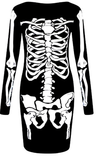 Ladies Halloween Skeleton Bones Dress Bodysuit Jumpsuit Leggings Plus Size 4-16