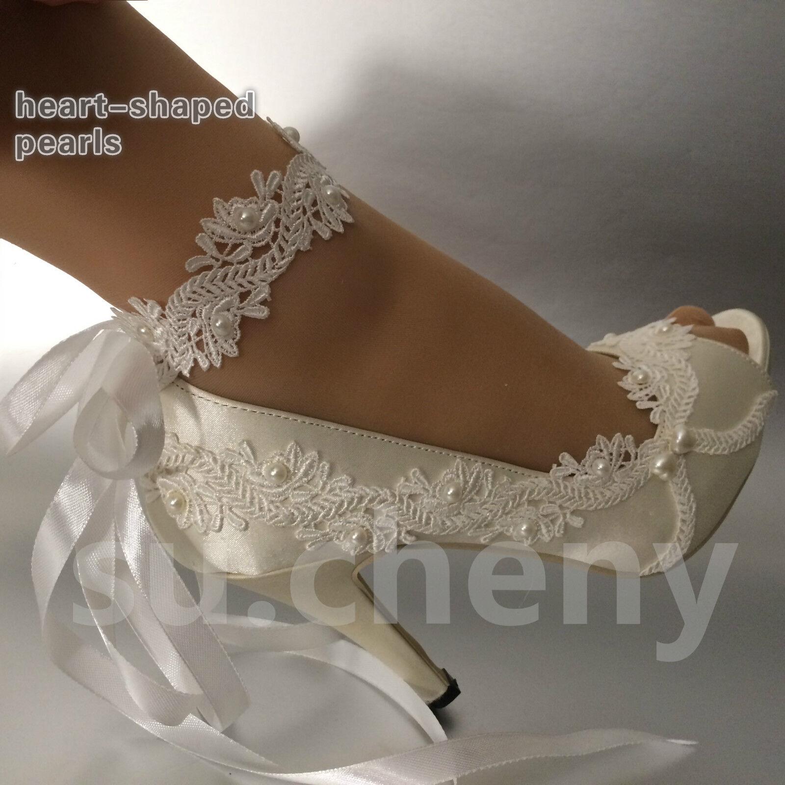 Su.cheny 3  4  heel satin white ivory lace ribbon open toe Wedding Bridal shoes