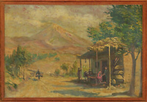 Framed-Mid-20th-Century-Oil-South-American-Landscape