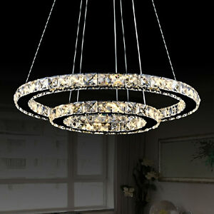 Led crystal ring chandelier pendant light lamp ceiling fixture home la foto se est cargando led crystal ring chandelier pendant light lamp ceiling aloadofball Image collections
