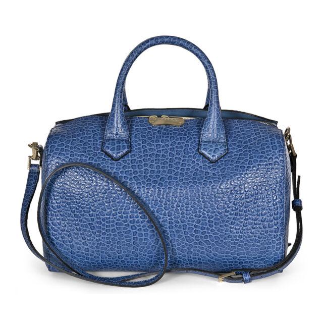 Burberry Medium Signature Grain Leather Bowl Bag - Light Blue Steel