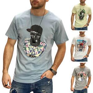 Jack-amp-Jones-T-Shirt-Hommes-Print-Shirt-Manches-Courtes-Shirt-Col-Rond-O-Neck-SALE