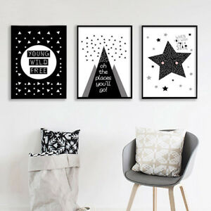 Details About Black White Nursery Canvas Poster Cartoon Wall Art Print Baby Kids Room Decor