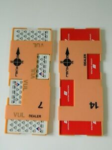 Lot-of-2-Airline-Playing-Card-Deck-Delta-United-with-Dealer-Holder