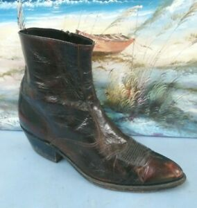 3819e0ddd06 Details about Vintage Western Dark Brown Leather Ankle Boot Side Zipper  Mens 10.5 D 1376