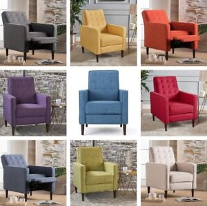 Image Is Loading Mid Century Tufted Club Chair Recliner Fabric Armchair