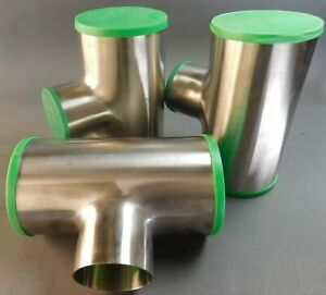 Lot-of-3-Sanitube-Stainless-6-034-x4-034-316L-Polished-Short-Tee-Butt-Weld-Fitting