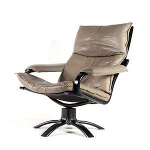 Retro-Vintage-Danish-Leather-Swivel-Lounge-Easy-Chair-Armchair-70s-Mid-Century