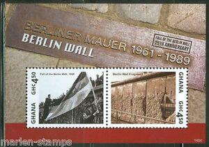 Ghana-2014-25th-Ann-de-la-chute-du-mur-de-Berlin-Souvenir-Sheet-II-Comme-neuf-NH