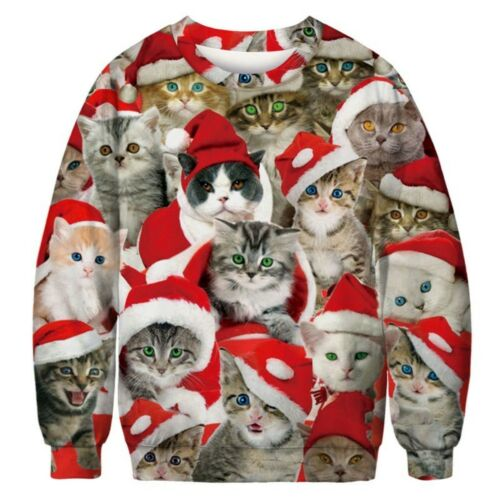 Ugly Christmas Sweater Adorable Cat Kiities Collage X-Mas 3D Print Pullover