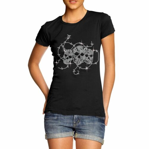 Twisted Envy Women/'s Barbed Wire Skulls Rhinestone T-Shirt