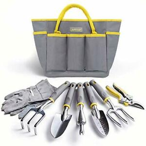 Garden Tool Set - 8Pcs Durable Gardening Tool Set with Heavy Duty Tote Bag
